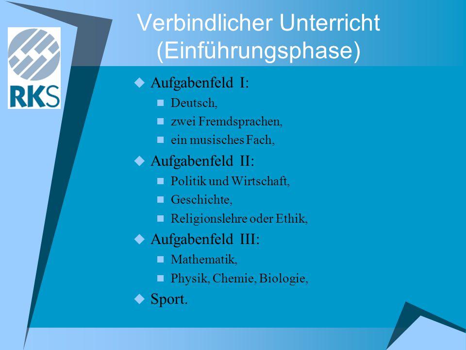 Verbindlicher Unterricht (Einführungsphase)  Aufgabenfeld I: Deutsch, zwei Fremdsprachen, ein musisches Fach,  Aufgabenfeld II: Politik und Wirtscha