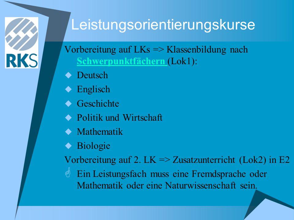 Leistungsorientierungskurse Vorbereitung auf LKs => Klassenbildung nach Schwerpunktfächern (Lok1): Schwerpunktfächern  Deutsch  Englisch  Geschichte  Politik und Wirtschaft  Mathematik  Biologie Vorbereitung auf 2.