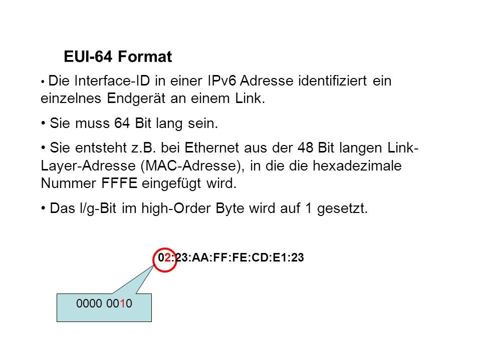 EUI-64 Format Die Interface-ID in einer IPv6 Adresse identifiziert ein einzelnes Endgerät an einem Link.