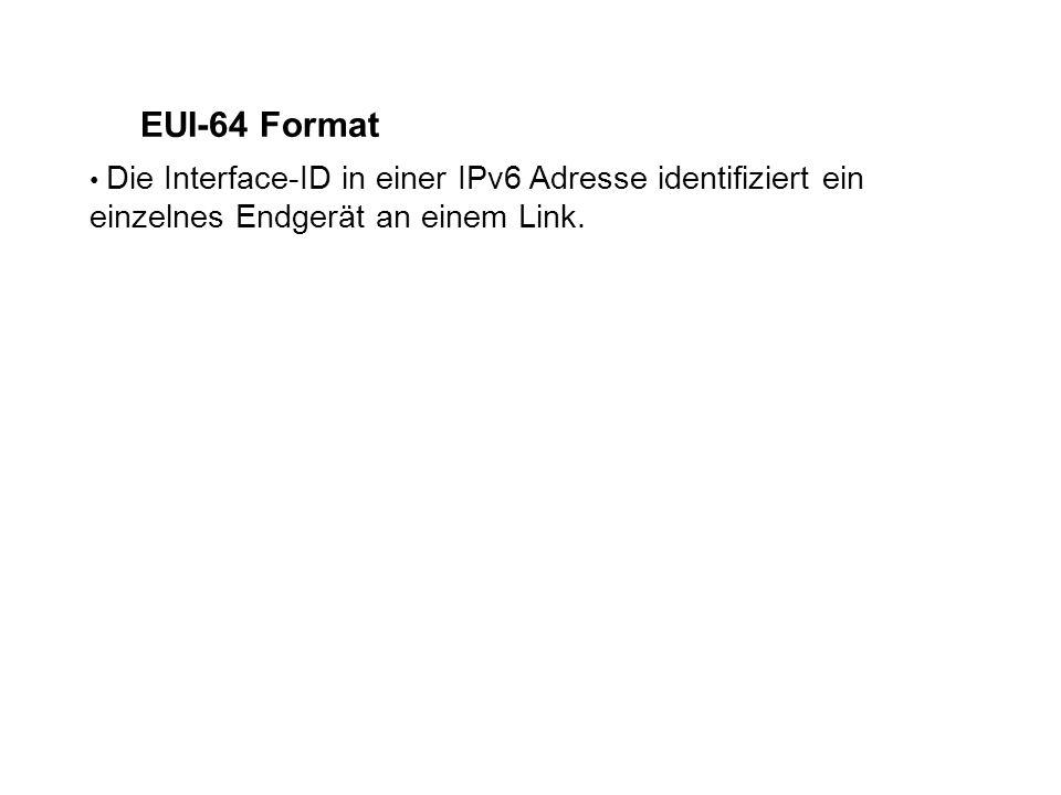 Die Interface-ID in einer IPv6 Adresse identifiziert ein einzelnes Endgerät an einem Link.