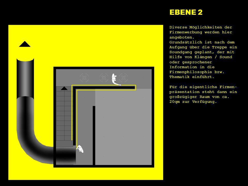 e2 start EBENE 2 Diverse Möglichkeiten der Firmenwerbung werden hier angeboten. Grundsätzlich ist nach dem Aufgang über die Treppe ein Soundgang gepla