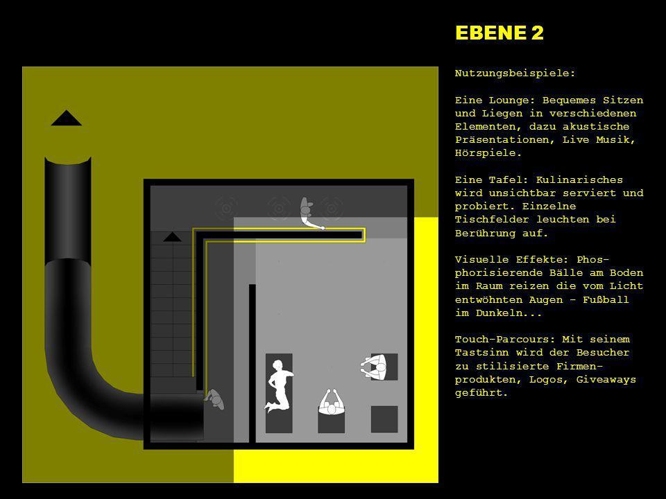 e2 lounge EBENE 2 Nutzungsbeispiele: Eine Lounge: Bequemes Sitzen und Liegen in verschiedenen Elementen, dazu akustische Präsentationen, Live Musik, H