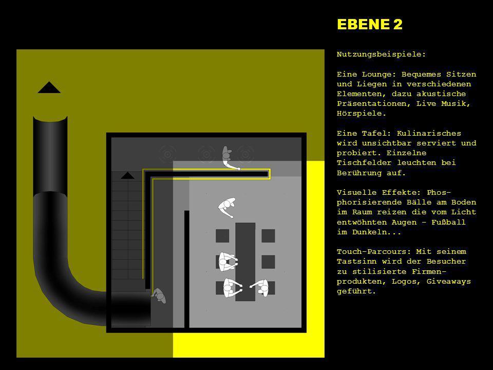 e2 tafel EBENE 2 Nutzungsbeispiele: Eine Lounge: Bequemes Sitzen und Liegen in verschiedenen Elementen, dazu akustische Präsentationen, Live Musik, Hö