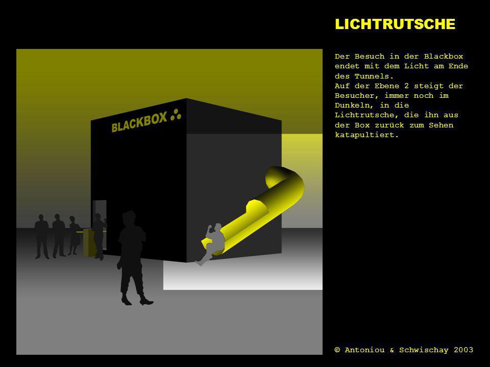 licht LICHTRUTSCHE Der Besuch in der Blackbox endet mit dem Licht am Ende des Tunnels. Auf der Ebene 2 steigt der Besucher, immer noch im Dunkeln, in