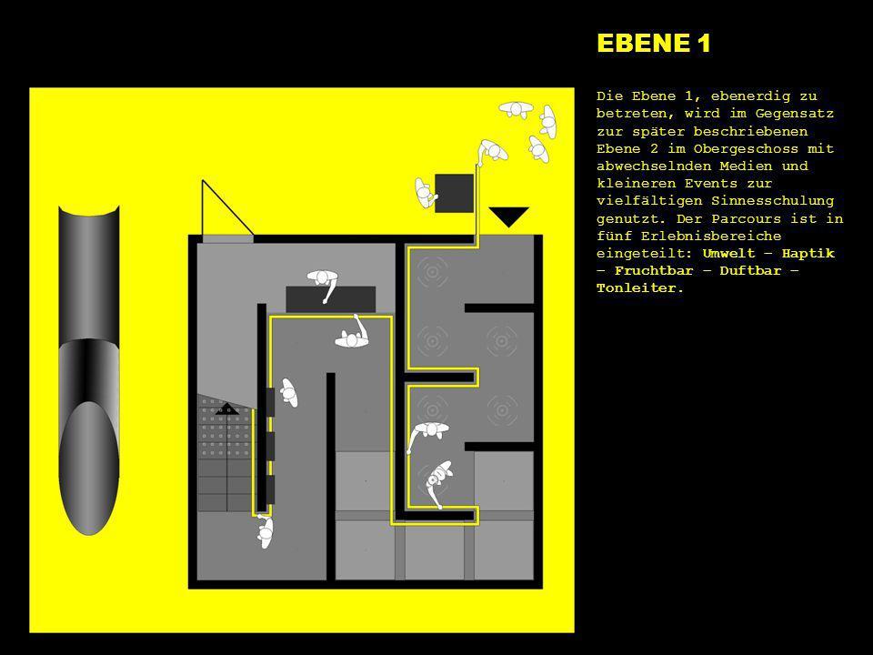 e1 alles EBENE 1 Die Ebene 1, ebenerdig zu betreten, wird im Gegensatz zur später beschriebenen Ebene 2 im Obergeschoss mit abwechselnden Medien und k