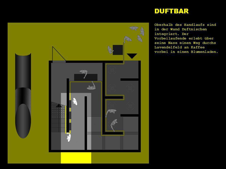 e1 duft DUFTBAR Oberhalb des Handlaufs sind in der Wand Duftnischen integriert. Der Vorbeilaufende erlebt über seine Nase einen Weg durchs Lavendelfel