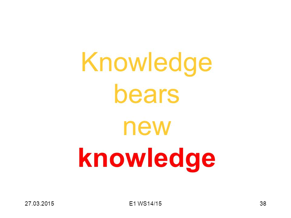 Knowledge bears new knowledge 27.03.201538E1 WS14/15