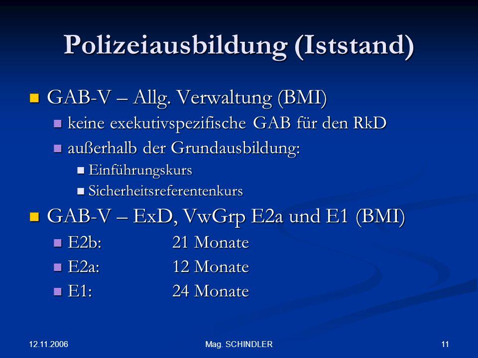 12.11.2006 11Mag. SCHINDLER Polizeiausbildung (Iststand) GAB-V – Allg. Verwaltung (BMI) GAB-V – Allg. Verwaltung (BMI) keine exekutivspezifische GAB f