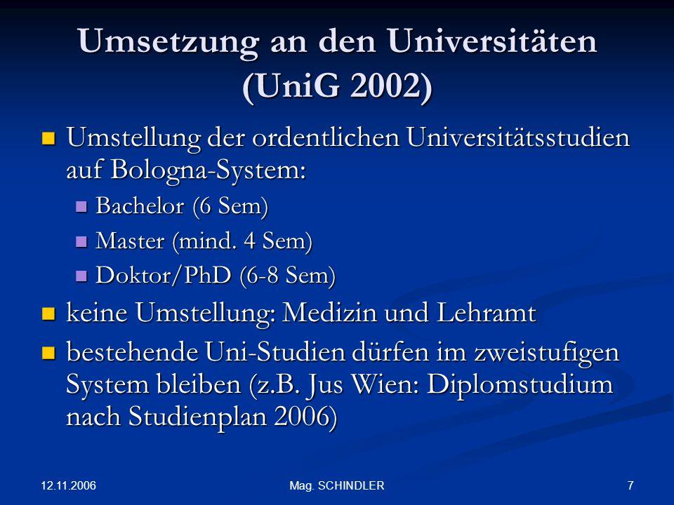 12.11.2006 7Mag. SCHINDLER Umsetzung an den Universitäten (UniG 2002) Umstellung der ordentlichen Universitätsstudien auf Bologna-System: Umstellung d