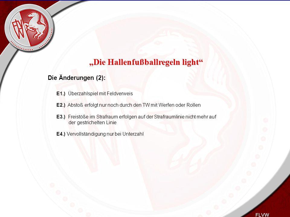 Heiko Schneider KSL Bochum FLVW Kreis Bochum www.kreis-bochum.de Die Änderungen (2): E1.) Überzahlspiel mit Feldverweis E2.) Abstoß erfolgt nur noch d