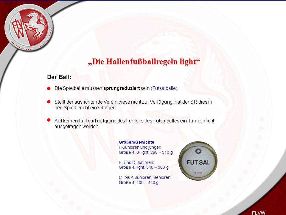 Heiko Schneider KSL Bochum FLVW Kreis Bochum www.kreis-bochum.de Der Ball: Die Spielbälle müssen sprungreduziert sein (Futsalbälle). Stellt der ausric