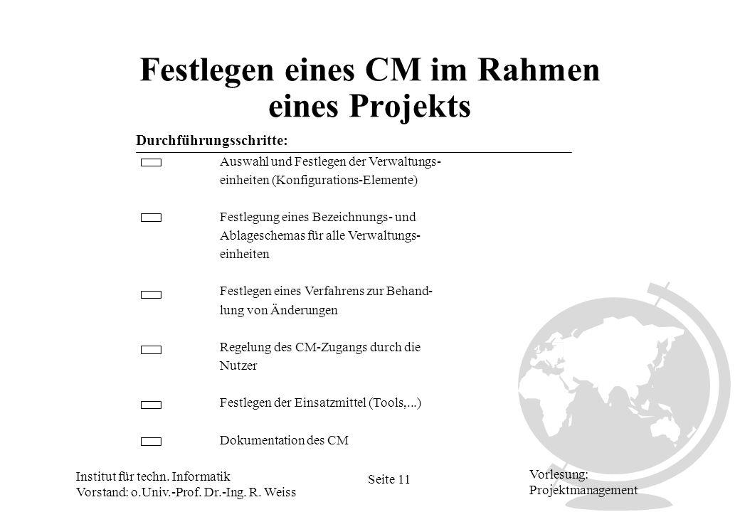 Institut für techn. Informatik Vorstand: o.Univ.-Prof. Dr.-Ing. R. Weiss Seite 11 Vorlesung: Projektmanagement Festlegen eines CM im Rahmen eines Proj