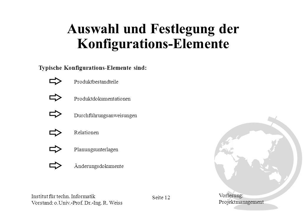 Institut für techn. Informatik Vorstand: o.Univ.-Prof. Dr.-Ing. R. Weiss Seite 12 Vorlesung: Projektmanagement Auswahl und Festlegung der Konfiguratio
