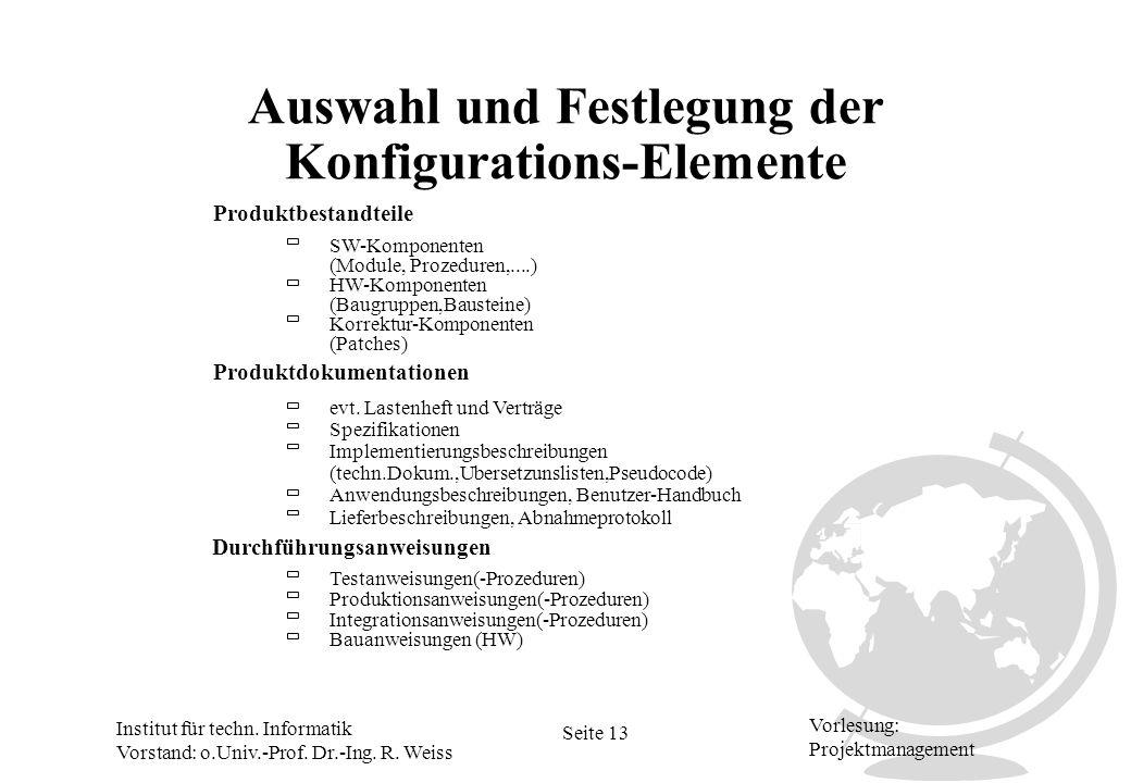 Institut für techn. Informatik Vorstand: o.Univ.-Prof. Dr.-Ing. R. Weiss Seite 13 Vorlesung: Projektmanagement Auswahl und Festlegung der Konfiguratio