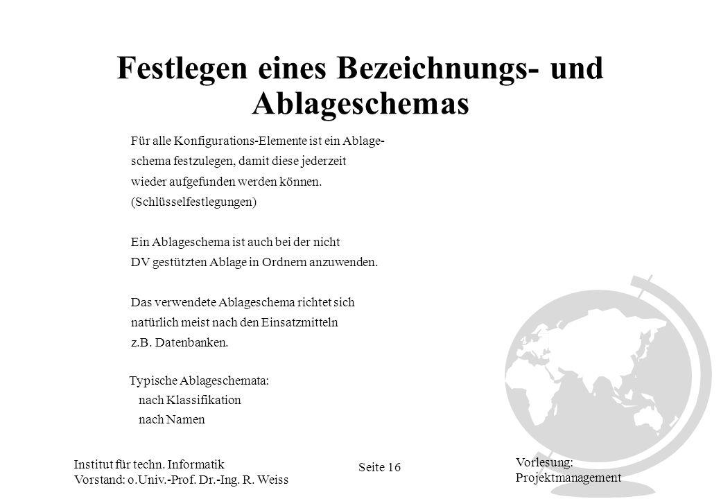 Institut für techn. Informatik Vorstand: o.Univ.-Prof. Dr.-Ing. R. Weiss Seite 16 Vorlesung: Projektmanagement Festlegen eines Bezeichnungs- und Ablag