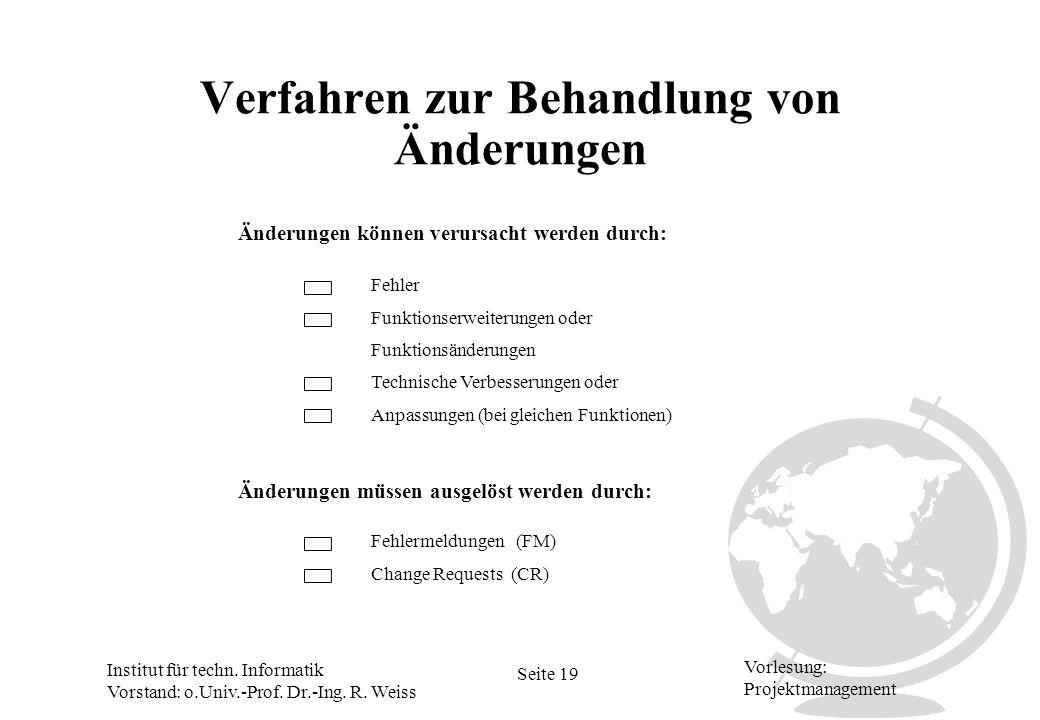 Institut für techn. Informatik Vorstand: o.Univ.-Prof. Dr.-Ing. R. Weiss Seite 19 Vorlesung: Projektmanagement Verfahren zur Behandlung von Änderungen