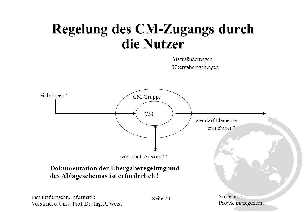 Institut für techn. Informatik Vorstand: o.Univ.-Prof. Dr.-Ing. R. Weiss Seite 20 Vorlesung: Projektmanagement Regelung des CM-Zugangs durch die Nutze