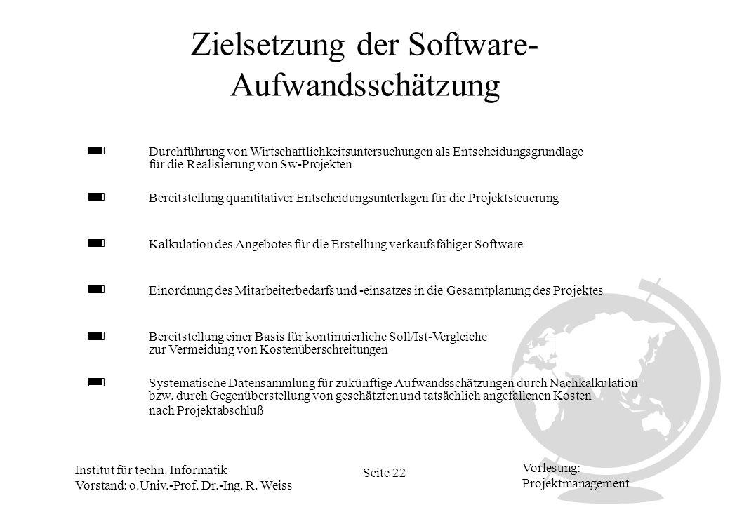 Institut für techn. Informatik Vorstand: o.Univ.-Prof. Dr.-Ing. R. Weiss Seite 22 Vorlesung: Projektmanagement Zielsetzung der Software- Aufwandsschät