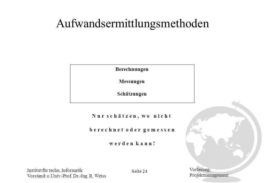 Institut für techn. Informatik Vorstand: o.Univ.-Prof. Dr.-Ing. R. Weiss Seite 24 Vorlesung: Projektmanagement Aufwandsermittlungsmethoden Berechnunge