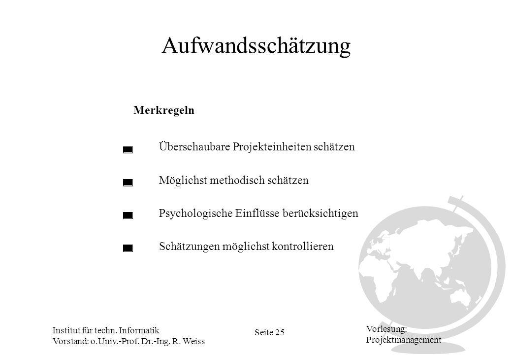 Institut für techn. Informatik Vorstand: o.Univ.-Prof. Dr.-Ing. R. Weiss Seite 25 Vorlesung: Projektmanagement Aufwandsschätzung Merkregeln Überschaub