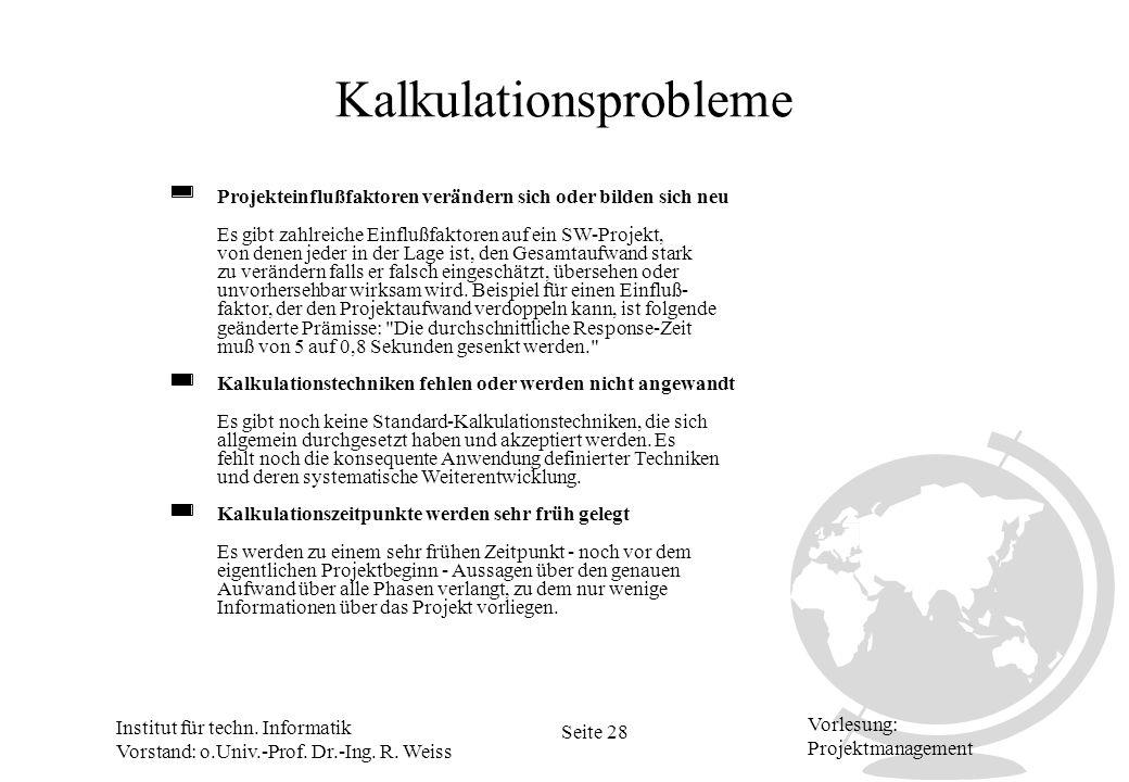 Institut für techn. Informatik Vorstand: o.Univ.-Prof. Dr.-Ing. R. Weiss Seite 28 Vorlesung: Projektmanagement Kalkulationsprobleme Projekteinflußfakt