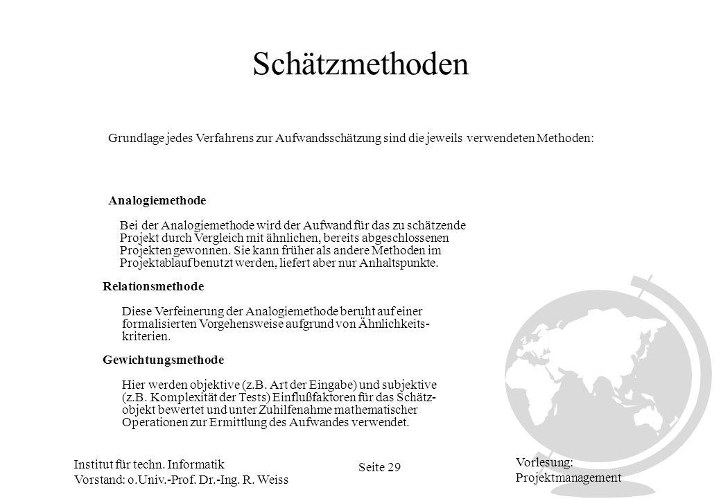 Institut für techn. Informatik Vorstand: o.Univ.-Prof. Dr.-Ing. R. Weiss Seite 29 Vorlesung: Projektmanagement Schätzmethoden Analogiemethode Relation