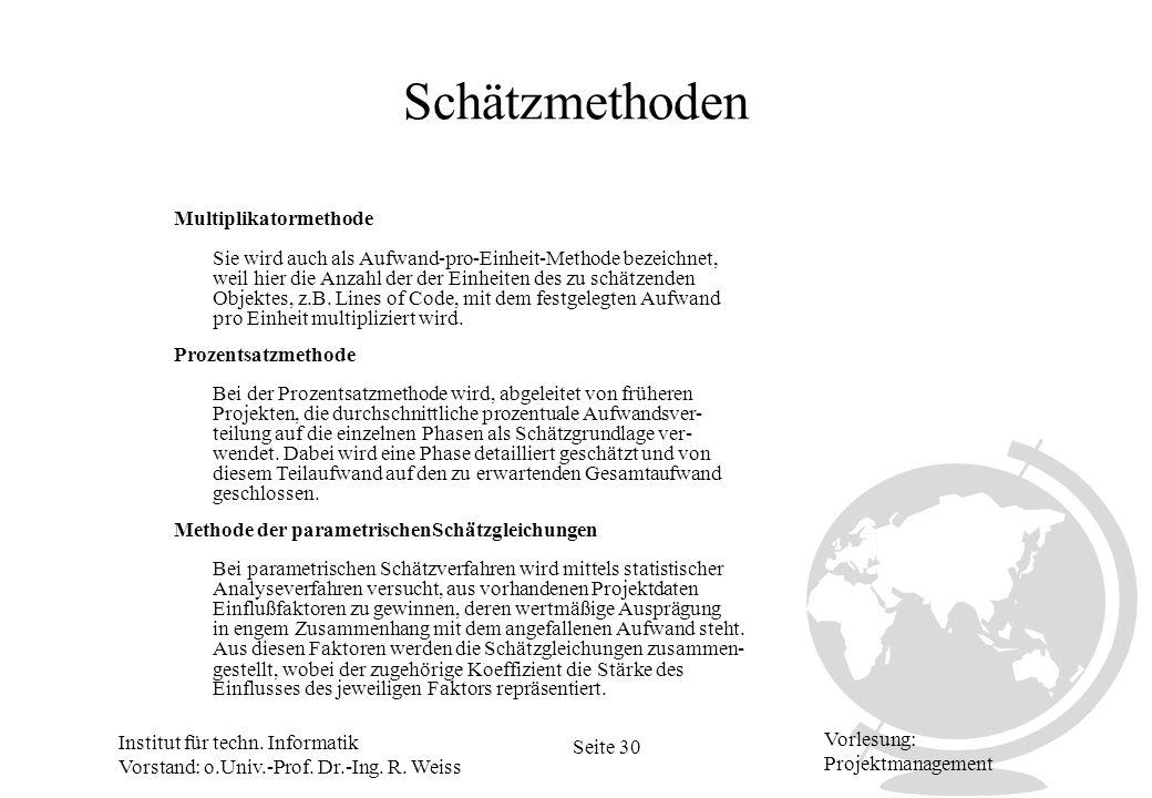 Institut für techn. Informatik Vorstand: o.Univ.-Prof. Dr.-Ing. R. Weiss Seite 30 Vorlesung: Projektmanagement Schätzmethoden Multiplikatormethode Pro