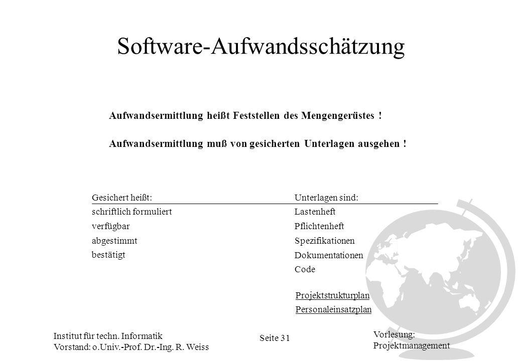 Institut für techn. Informatik Vorstand: o.Univ.-Prof. Dr.-Ing. R. Weiss Seite 31 Vorlesung: Projektmanagement Software-Aufwandsschätzung Aufwandsermi