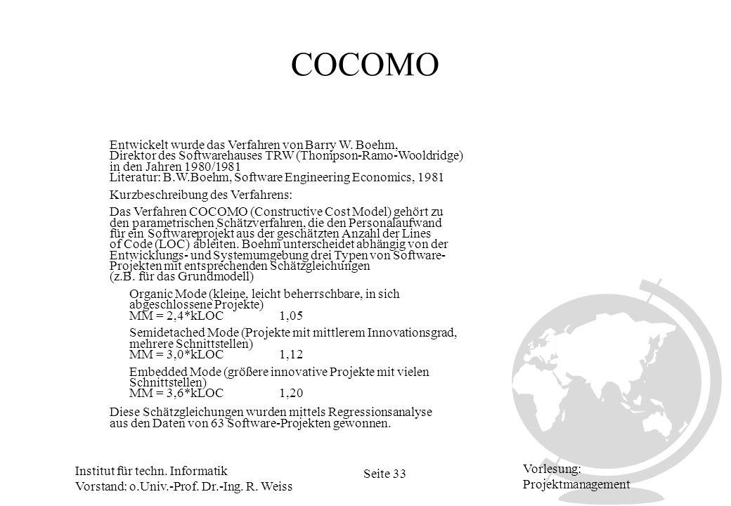 Institut für techn. Informatik Vorstand: o.Univ.-Prof. Dr.-Ing. R. Weiss Seite 33 Vorlesung: Projektmanagement COCOMO Kurzbeschreibung des Verfahrens: