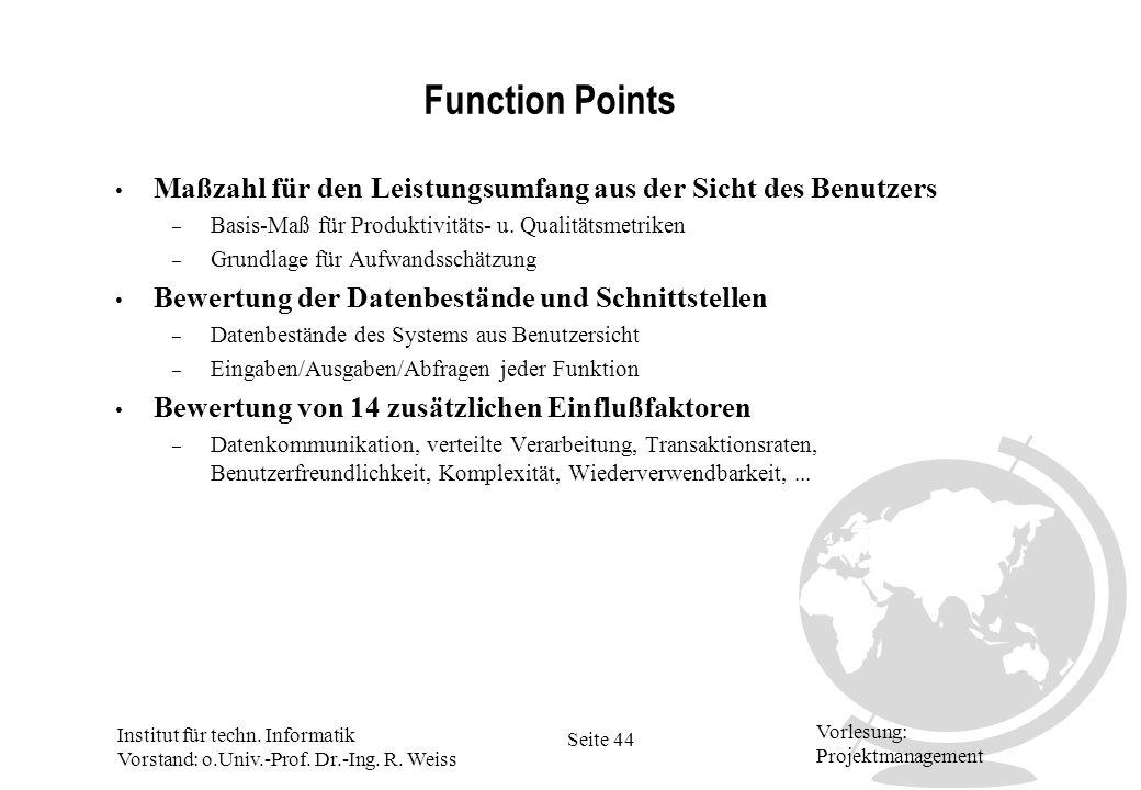 Institut für techn. Informatik Vorstand: o.Univ.-Prof. Dr.-Ing. R. Weiss Seite 44 Vorlesung: Projektmanagement Function Points Maßzahl für den Leistun
