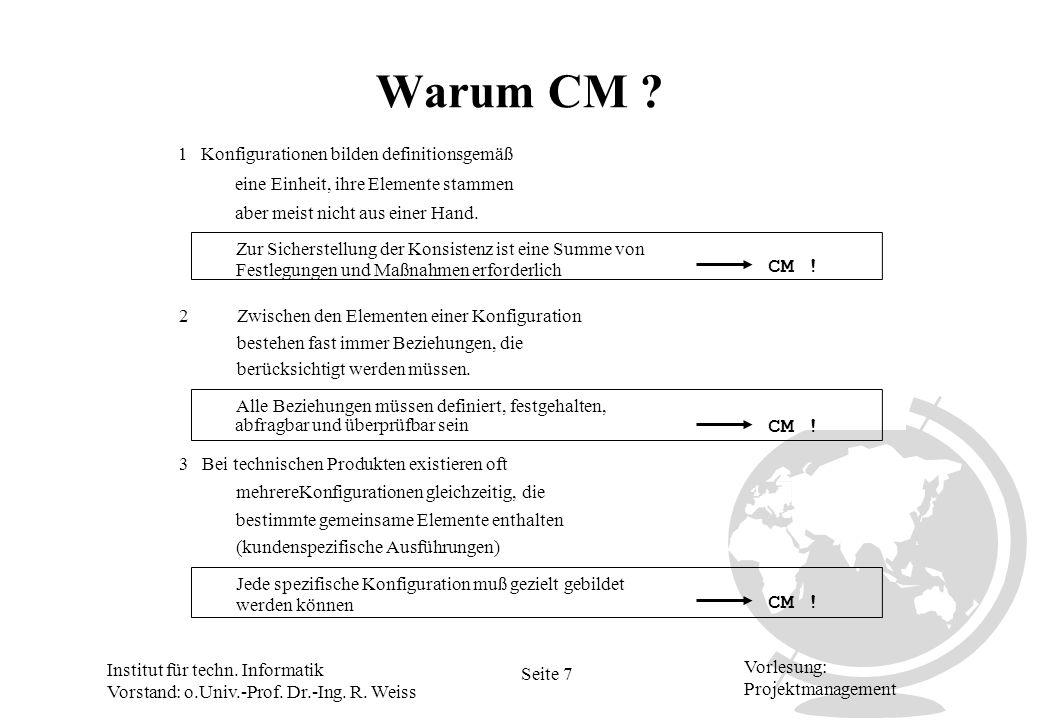 Institut für techn. Informatik Vorstand: o.Univ.-Prof. Dr.-Ing. R. Weiss Seite 7 Vorlesung: Projektmanagement Warum CM ? 1 Konfigurationen bilden defi