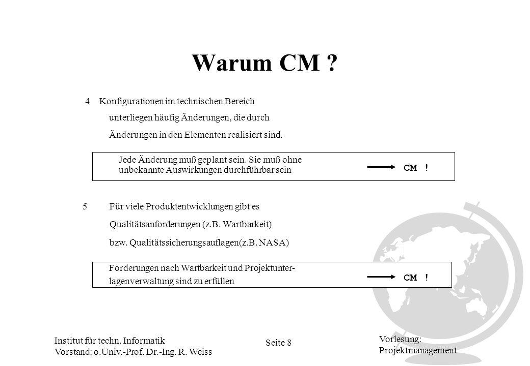 Institut für techn. Informatik Vorstand: o.Univ.-Prof. Dr.-Ing. R. Weiss Seite 8 Vorlesung: Projektmanagement Warum CM ? unbekannte Auswirkungen durch