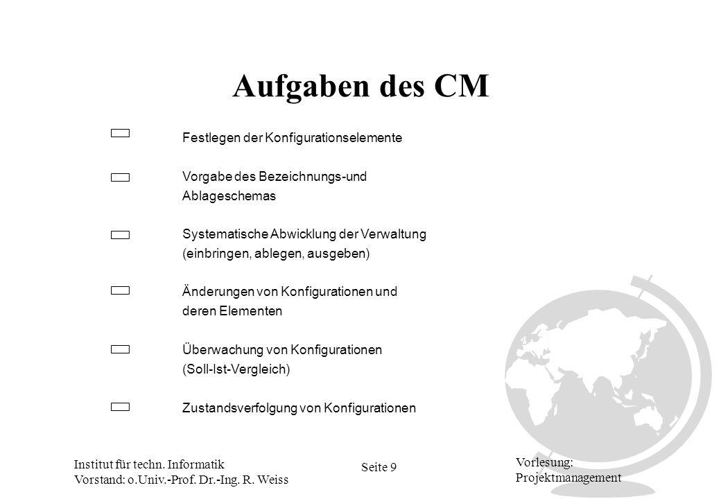 Institut für techn. Informatik Vorstand: o.Univ.-Prof. Dr.-Ing. R. Weiss Seite 9 Vorlesung: Projektmanagement Aufgaben des CM Festlegen der Konfigurat