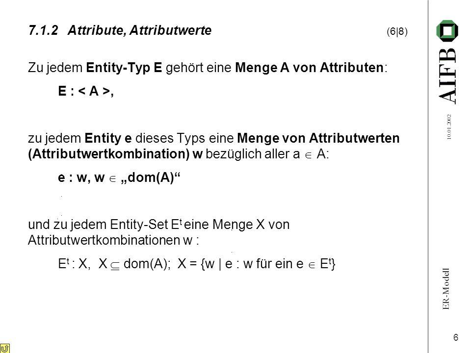 ER-Modell 10.01.2002 7 Annahme: feste Reihenfolge für a i in A: a 1, a 2, …, a n (d.h.: beliebig, aber fest gewählt) Jedes Entity ist dann beschrieben durch ein geordnetes Tupel von Attributwerten w: e : w, w = (w 1, w 2,..., w n ) dom(A) ::= {(w 1, w 2,..., w n )   w i  dom(a i ); i = 1,..., n} = dom(a 1 ) x dom(a 2 ) x...