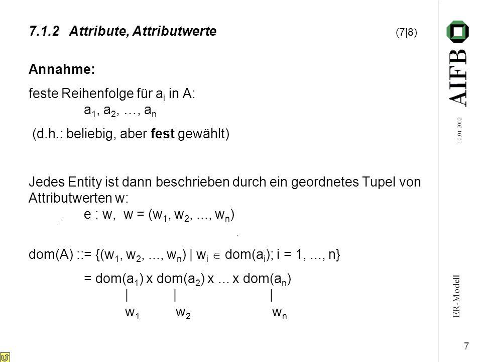 ER-Modell 10.01.2002 7 Annahme: feste Reihenfolge für a i in A: a 1, a 2, …, a n (d.h.: beliebig, aber fest gewählt) Jedes Entity ist dann beschrieben durch ein geordnetes Tupel von Attributwerten w: e : w, w = (w 1, w 2,..., w n ) dom(A) ::= {(w 1, w 2,..., w n ) | w i  dom(a i ); i = 1,..., n} = dom(a 1 ) x dom(a 2 ) x...