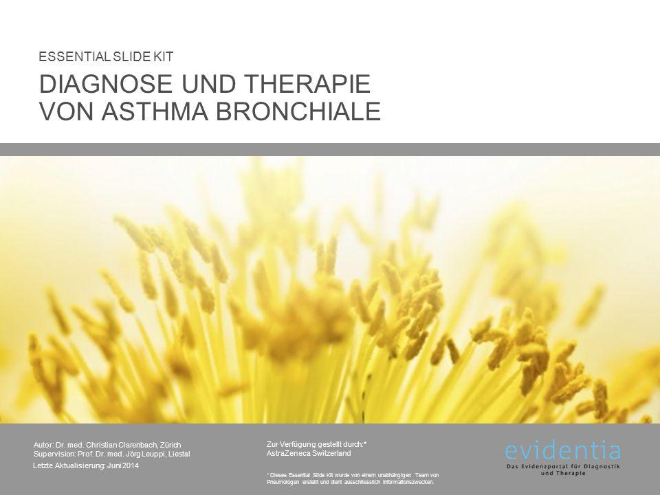 Therapie: Asthma-Exazerbation/Anfall Schwerer Anfall Symptome Sprechdyspnoe AF > 25/min; HF > 110/min PEF < 50% des Soll- oder Bestwerts  Einweisung in Spital erwägen Initialtherapie Sauerstoff 2-4 l/min über Nasensonde (Atmung beachten), Ziel: SaO2 ≥ 92% 2-4 Hübe eines SABA Dosieraerosol + Vorschaltkammer, in 10-15 min Intervallen wiederholen 50-100 mg Prednisolonäquivalent oral oder i.v.