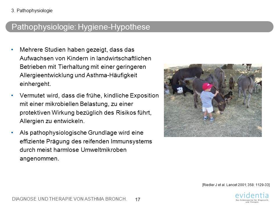 Pathophysiologie: Hygiene-Hypothese Mehrere Studien haben gezeigt, dass das Aufwachsen von Kindern in landwirtschaftlichen Betrieben mit Tierhaltung m