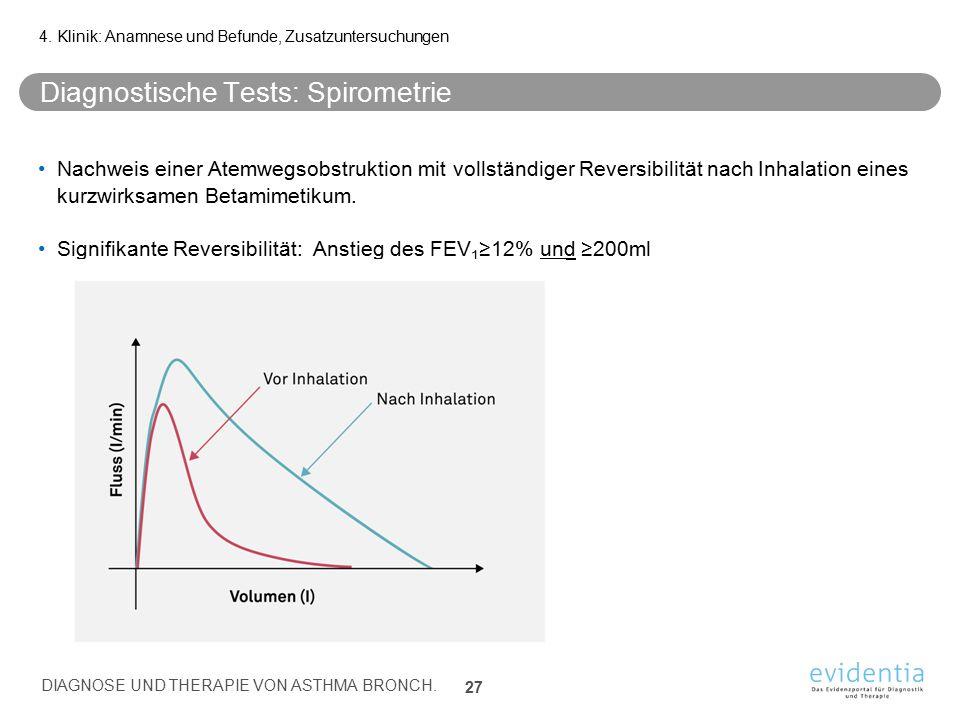 Diagnostische Tests: Spirometrie Nachweis einer Atemwegsobstruktion mit vollständiger Reversibilität nach Inhalation eines kurzwirksamen Betamimetikum