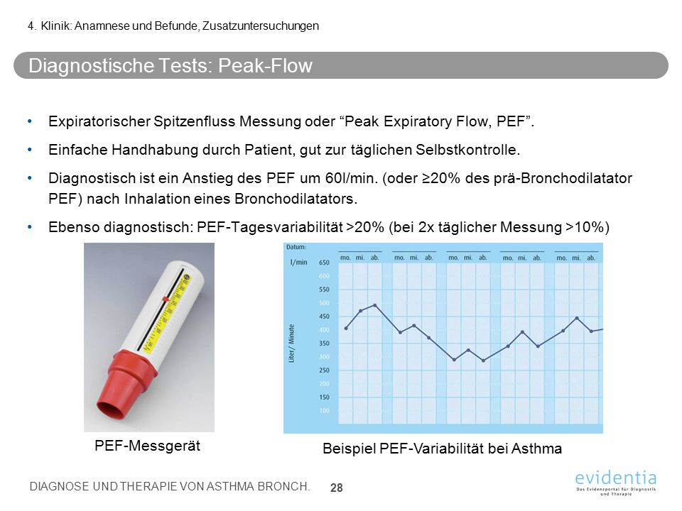 Diagnostische Tests: Peak-Flow Expiratorischer Spitzenfluss Messung oder Peak Expiratory Flow, PEF .