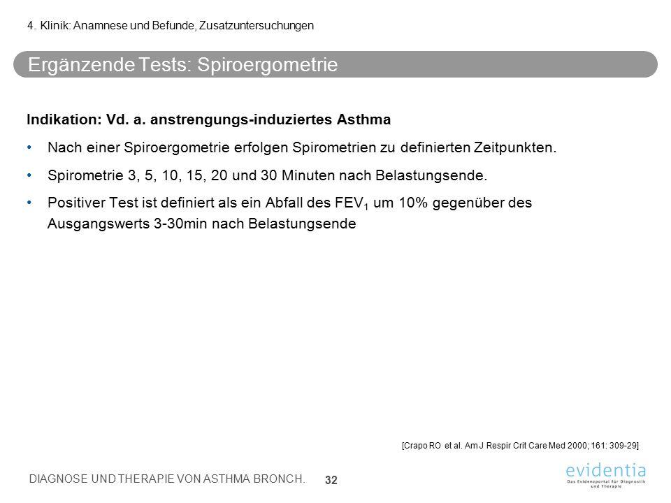 Ergänzende Tests: Spiroergometrie Indikation: Vd. a. anstrengungs-induziertes Asthma Nach einer Spiroergometrie erfolgen Spirometrien zu definierten Z