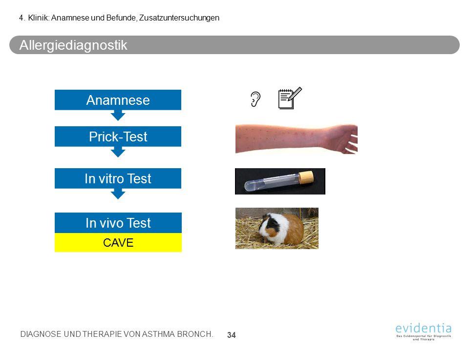 Allergiediagnostik 4. Klinik: Anamnese und Befunde, Zusatzuntersuchungen DIAGNOSE UND THERAPIE VON ASTHMA BRONCH. 34 Anamnese Prick-Test In vitro Test
