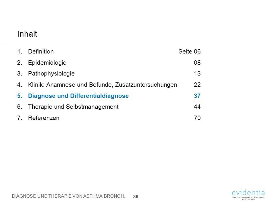 Inhalt 1.DefinitionSeite 06 2.Epidemiologie08 3.Pathophysiologie13 4.Klinik: Anamnese und Befunde, Zusatzuntersuchungen22 5.Diagnose und Differentiald