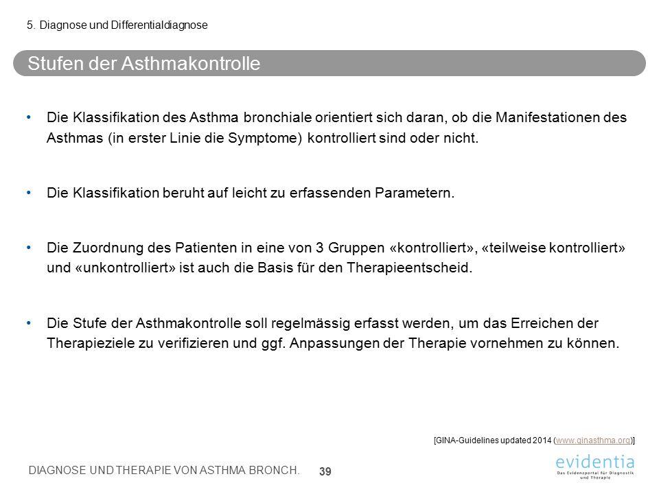 Stufen der Asthmakontrolle Die Klassifikation des Asthma bronchiale orientiert sich daran, ob die Manifestationen des Asthmas (in erster Linie die Sym