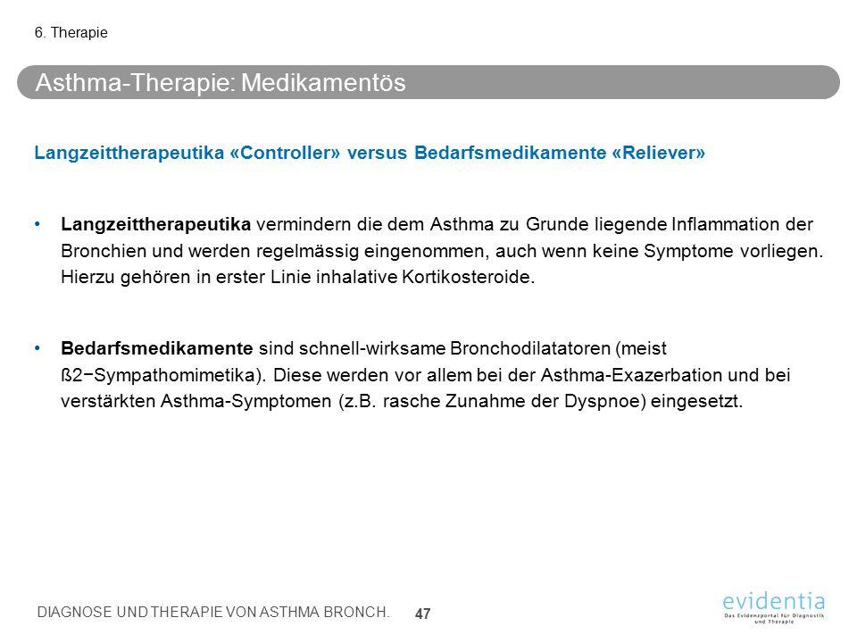 Asthma-Therapie: Medikamentös Langzeittherapeutika «Controller» versus Bedarfsmedikamente «Reliever» Langzeittherapeutika vermindern die dem Asthma zu