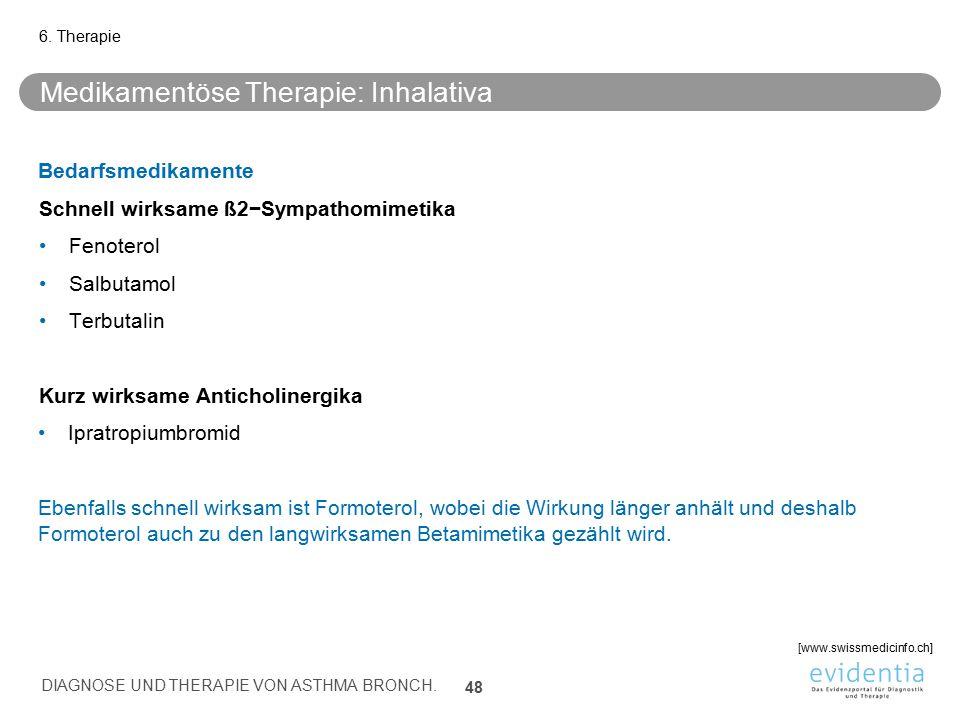 Medikamentöse Therapie: Inhalativa Bedarfsmedikamente Schnell wirksame ß2−Sympathomimetika Fenoterol Salbutamol Terbutalin Kurz wirksame Anticholinerg