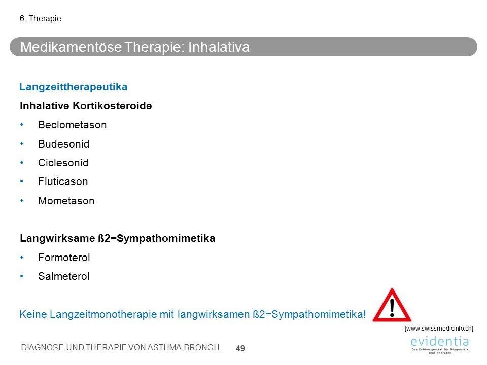 Medikamentöse Therapie: Inhalativa Langzeittherapeutika Inhalative Kortikosteroide Beclometason Budesonid Ciclesonid Fluticason Mometason Langwirksame
