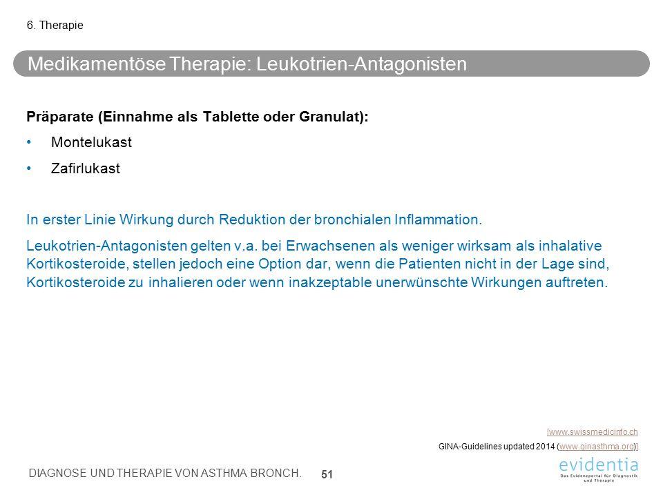 Medikamentöse Therapie: Leukotrien-Antagonisten Präparate (Einnahme als Tablette oder Granulat): Montelukast Zafirlukast In erster Linie Wirkung durch