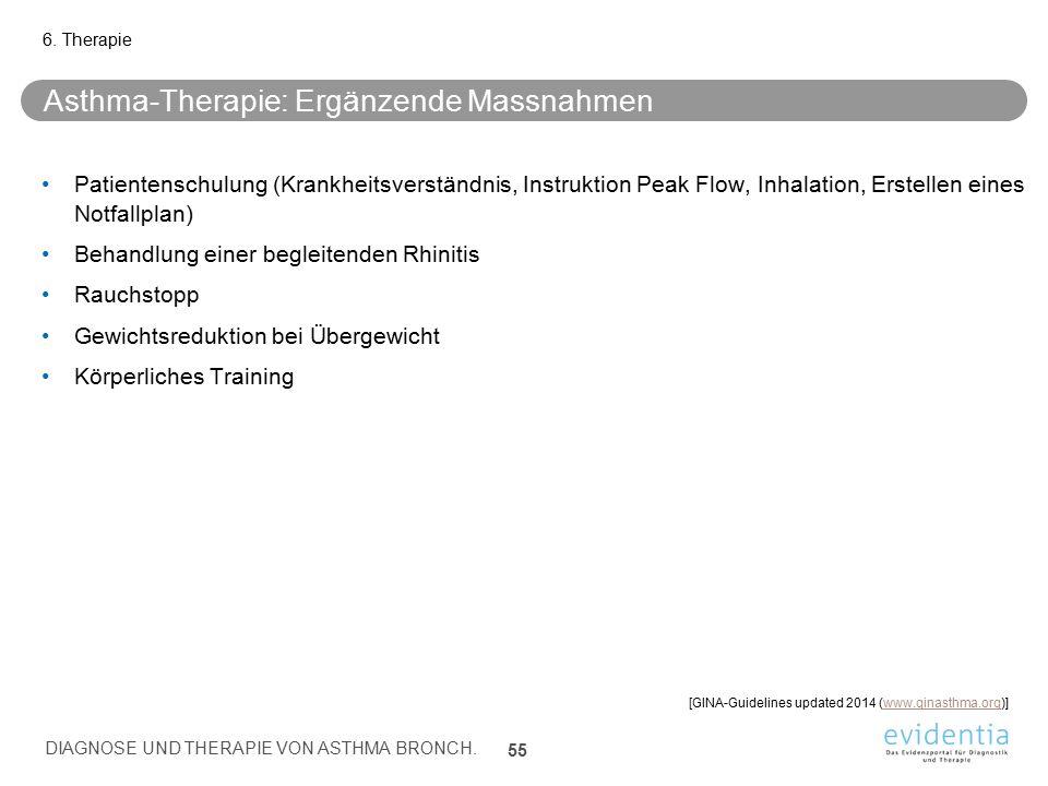 Asthma-Therapie: Ergänzende Massnahmen Patientenschulung (Krankheitsverständnis, Instruktion Peak Flow, Inhalation, Erstellen eines Notfallplan) Behan