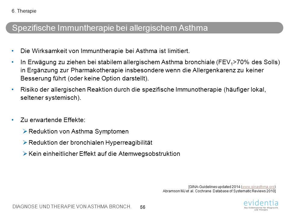 Spezifische Immuntherapie bei allergischem Asthma Die Wirksamkeit von Immuntherapie bei Asthma ist limitiert. In Erwägung zu ziehen bei stabilem aller