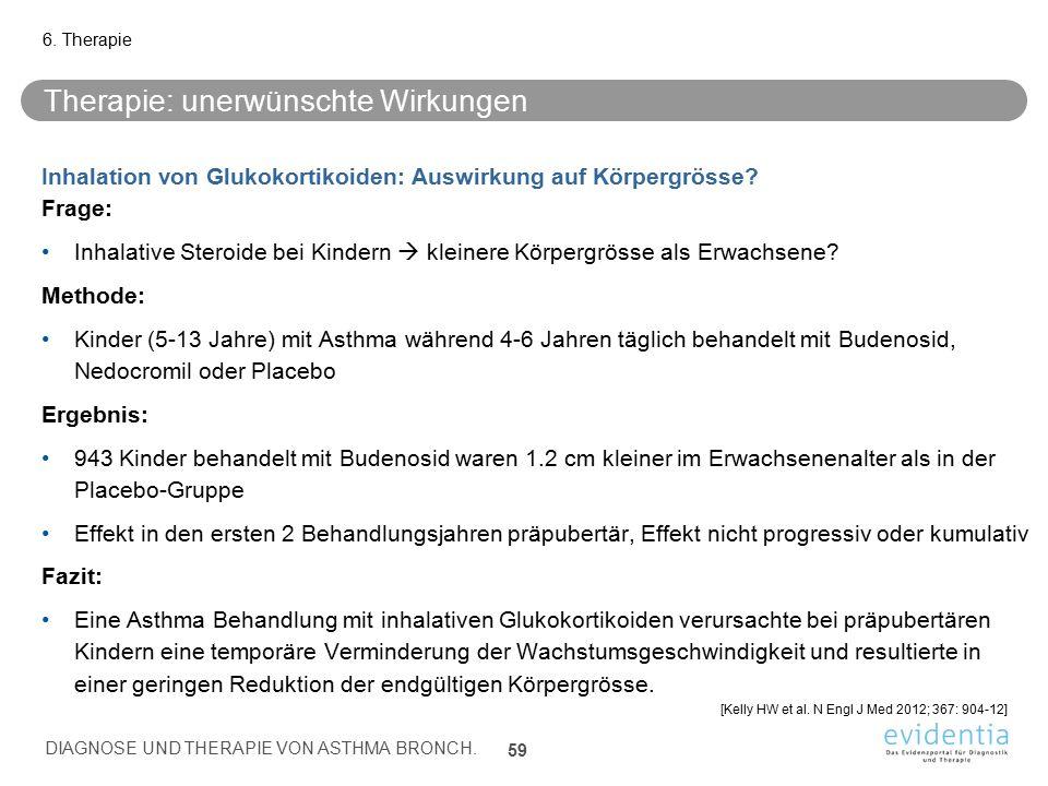 Therapie: unerwünschte Wirkungen Inhalation von Glukokortikoiden: Auswirkung auf Körpergrösse? Frage: Inhalative Steroide bei Kindern  kleinere Körpe